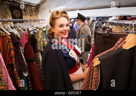 UK, England, Yorkshire, Haworth 40s Weekend, Simone Dawson from Saddleworth shopping for vintage clothes - Stock Photo