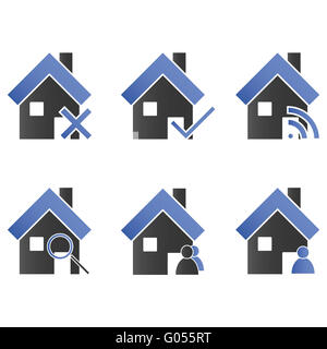 Homes with Icons Blue - Stock Photo