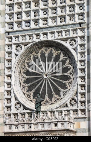 Rose window of the gothic cathedral of Monza - Stock Photo