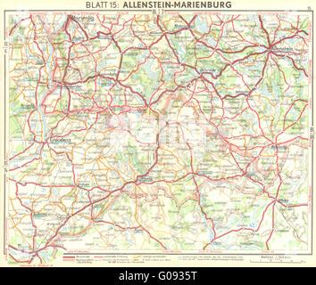 GERMANY: Allenstein-Marienburg, 1936 vintage map - Stock Photo