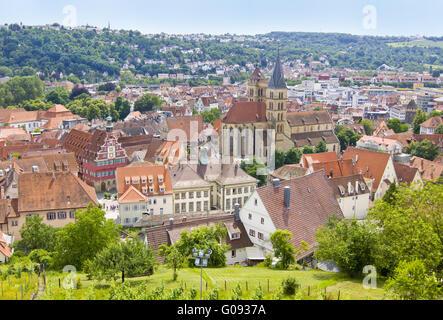 Esslingen am Neckar (river), view from vineyard - Stock Photo