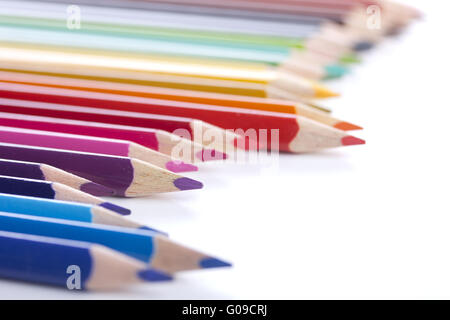 colored pencils, isolated on a white background - Stock Photo