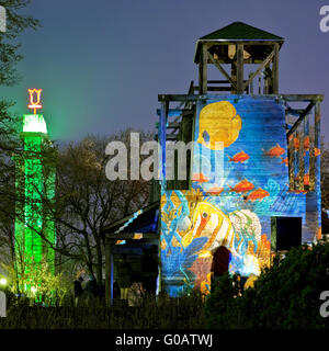 Parking lamps, illuminated Grugapark,Essen,Germany - Stock Photo