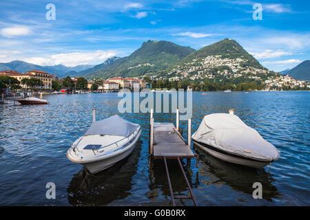 View of Lugano lake and the mountain in Locarno city, Ticino, Switzerland - Stock Photo