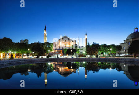 Hagia Sophia mosque with reflection. Istanbul, Turkey. - Stock Photo