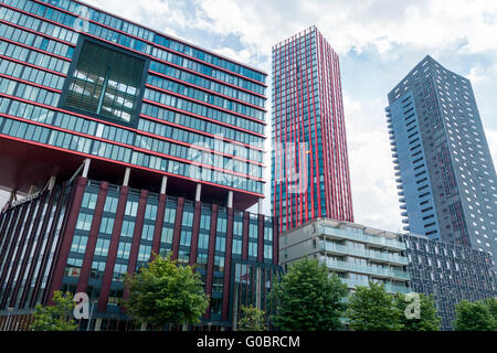 Rotterdams Wijnhaven with Red Apple and other high - Stock Photo