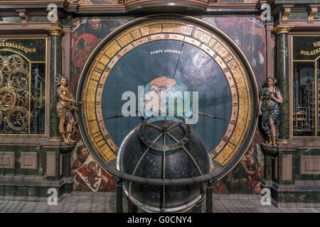 Astronomical clock of the  Strasbourg Cathedral, Strasbourg,  Alsace, France - Stock Photo