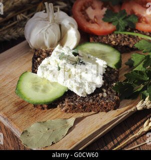 Cottage cheese sandwich - Stock Photo