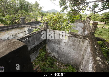 Ruined home in Kep. - Stock Photo