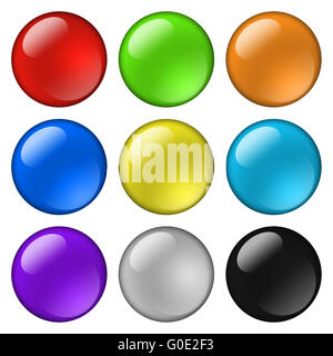 Glossy round buttons for icons - Stock Photo