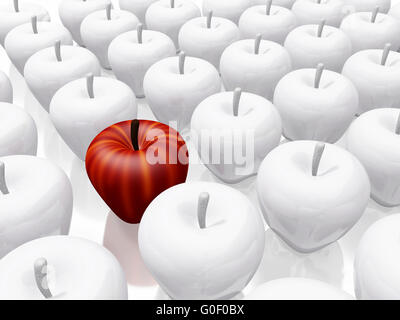 One Red Apple Amidst White Ceramic Apples - Stock Photo