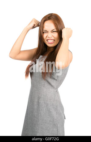 Disappointed Asian Girl Temper Tantrum Fists Ball - Stock Photo