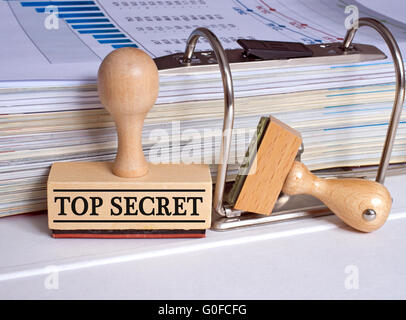 Top Secret - Rubber Stamp in the Office - Stock Photo
