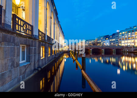 The Alsterfleet in downtown Hamburg at night - Stock Photo