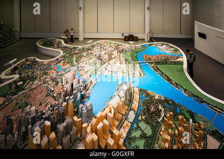 South East Asia, Singapore, City Planning scale model of Singapore - Stock Photo