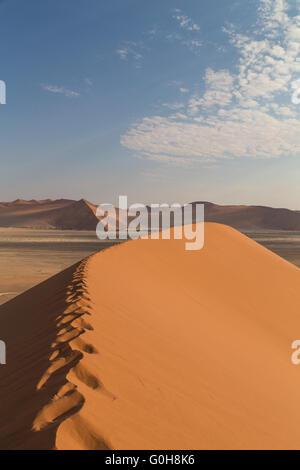 Sand Dune 45 in Sossusvlei, Namibia. Desert landscape. Take a walk into the sand dunes. - Stock Photo