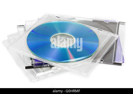 Compact Discs (CDs) in a case - Stock Photo