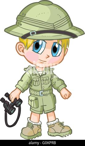 Vector cartoon clip art of a caucasian boy wearing a safari outfit, drawn in an anime or manga style. - Stock Photo