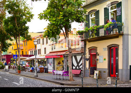 One of historical streets of Zona Velha, Funchal's Old Town, Madeira, in later afternoon - Stock Photo