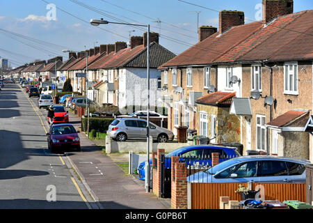 Typical street on Becontree estate built between the wars as massive LCC social council housing development now - Stock Photo