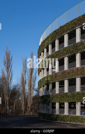 Parking facility, Glostrup Hospital, Copenhagen. The round building will leave a minimal footprint and has incorporated - Stock Photo