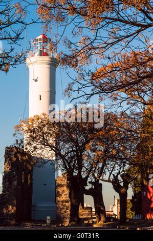 Old lighthouse in Colonia del Sacramento, Uruguay - Stock Photo