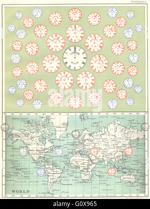 WORLD: Time of all Nations, 1897 antique map - Stock Photo