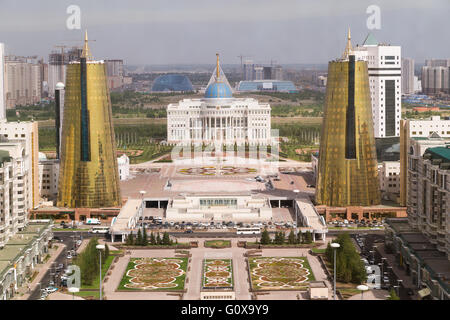 Presidential palace and Twin towers in govermental district, Astana - Stock Photo