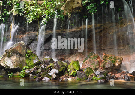 Chorros de la Calera waterfalls in a small town of Juayua, El Salvador - Stock Photo