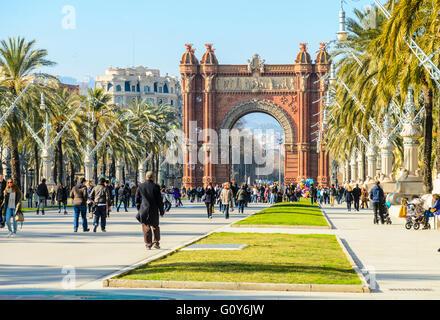Arco de Triunfo de Barcelona aka Arc de Triomf, Passeig de Lluís Companys, Barcelona, Spain - Stock Photo