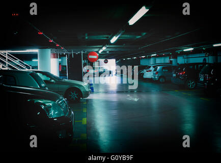 Undergound parking garage, Malaga, Spain.  This is the Plaza de la Marina garage. - Stock Photo