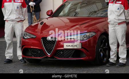 Rome, Italy. 5th May, 2016. Rome 5th May 2016. Presentation of the new Giulia by Alfa Romeo.  Credit:  Insidefoto/Alamy - Stock Photo