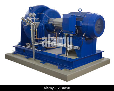 Blue industrial pump with electric motor on concrete base isolated on white background - Stock Photo