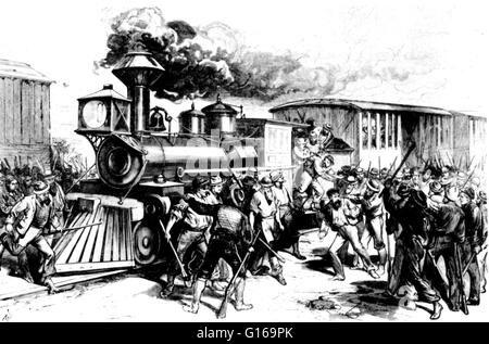 The Great Railroad Strike of 1877 started on July 14 in Martinsburg, West Virginia, in response to the cutting of - Stock Photo