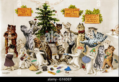 Entitled: 'Cats decorating Christmas tree'. A Christmas tree is a decorated tree, usually an evergreen conifer such - Stock Photo