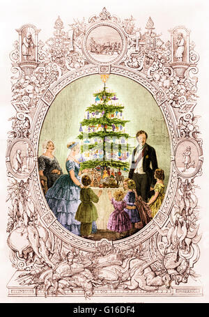Entitled: 'Christmas tree at Windsor Castle' engraving of the royal family around Christmas tree, depicted in an - Stock Photo