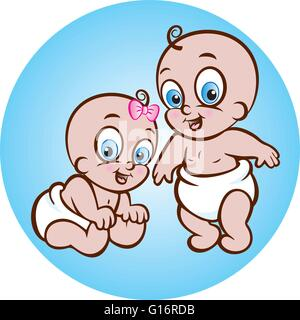 vector illustration of cute sitting baby girl and standing baby boy in diaper - Stock Photo