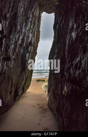 Cave at White Rocks, Portrush, Co. Antrim, Northern Ireland. - Stock Photo