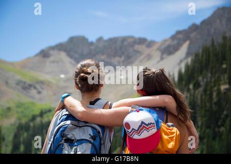 Hikers enjoying view, Aspen, Colorado - Stock Photo