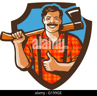 bearded canadian woodcutter with axe in plaid shirt - Stock Photo