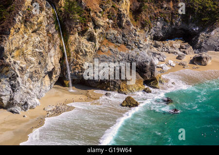 California Beach and Falls, Big Sur - Stock Photo