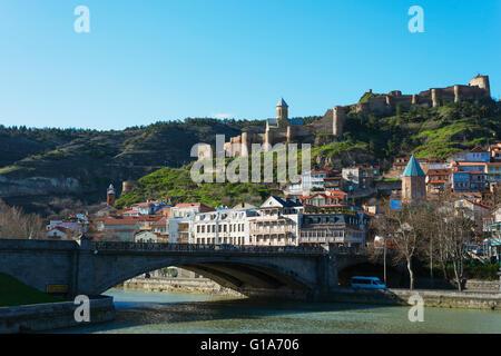 Eurasia, Caucasus region, Georgia, Tbilisi, old town and Narikala castle above Mtkvari river - Stock Photo