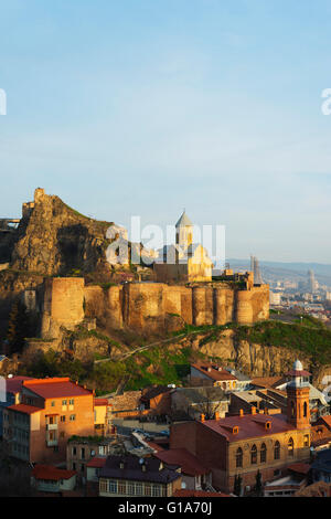 Eurasia, Caucasus region, Georgia, Tbilisi, old town and St Nicholas church on top of Narikala Fortress - Stock Photo