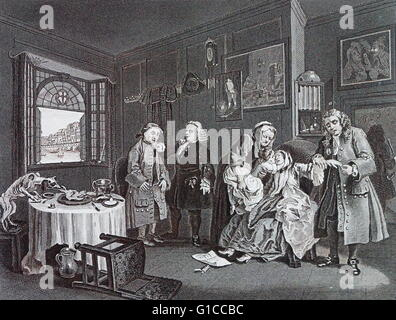 Death of the countess; Plate VI from marriage a la mode by William Hogarth (1697 – 1764). English painter, printmaker, - Stock Photo