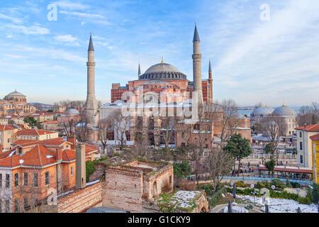 Hagia Sophia in winter evening, Istanbul, Turkey - Stock Photo
