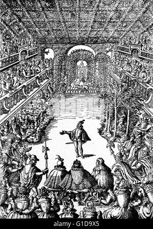 Representation of a Ballet before Henri III. and his Court, in the Gallery of the Louvre. Re-engraving from an original - Stock Photo
