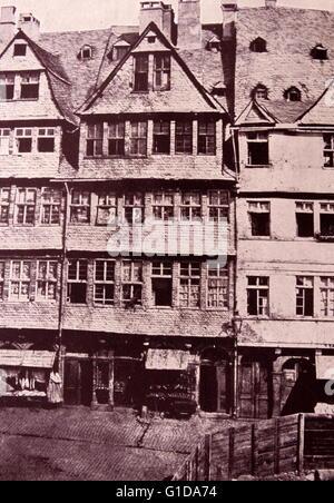Rothschild family ancestral home in Frankfurt, Germany, circa 1880 - Stock Photo