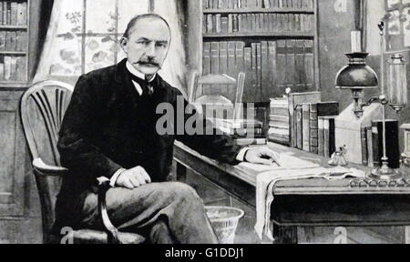 Portrait of Thomas Hardy (1840-1928) an English novelist and poet, in his study at Max Gate, Dorchester. Dated 20th - Stock Photo