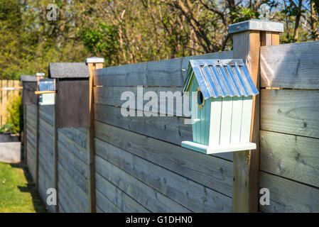 Bird houses on a row at a fence in the spring - Stock Photo