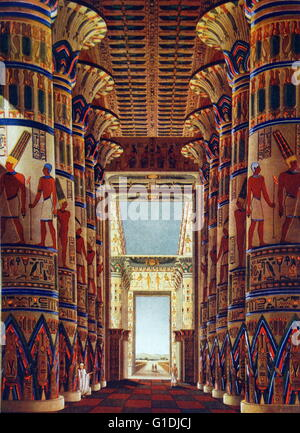The Great Hypostyle Hall of Karnak, located within the Karnak temple complex, in the Precinct of Amon-Re, is one - Stock Photo